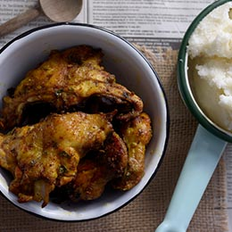 Roasted chicken chunks with pap
